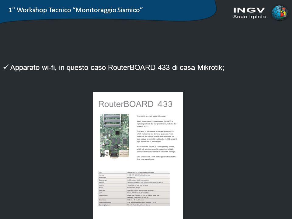 1° Workshop Tecnico Monitoraggio Sismico Apparato wi-fi, in questo caso RouterBOARD 433 di casa Mikrotik;