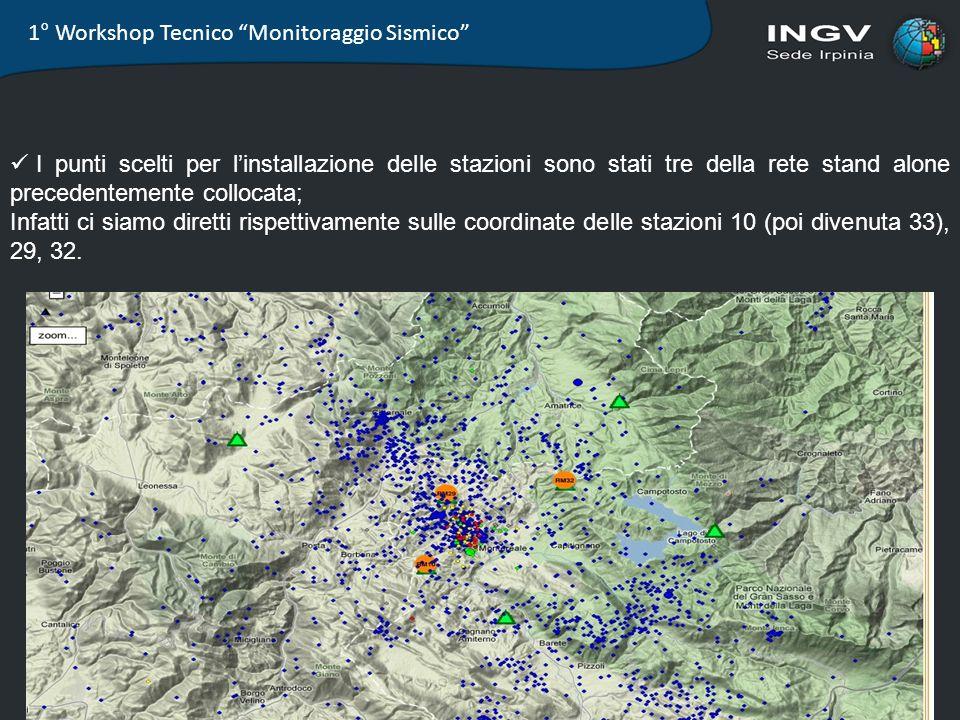 1° Workshop Tecnico Monitoraggio Sismico I punti scelti per linstallazione delle stazioni sono stati tre della rete stand alone precedentemente colloc