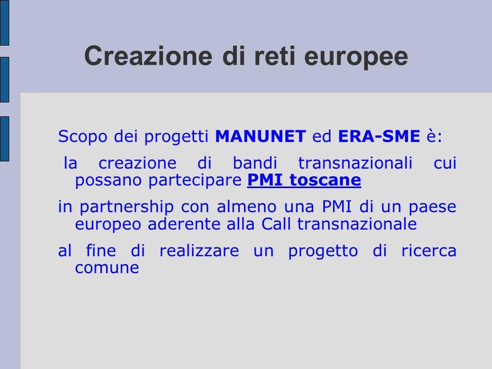 Creazione di reti europee Scopo dei progetti MANUNET ed ERA-SME è: la creazione di bandi transnazionali cui possano partecipare PMI toscane in partner