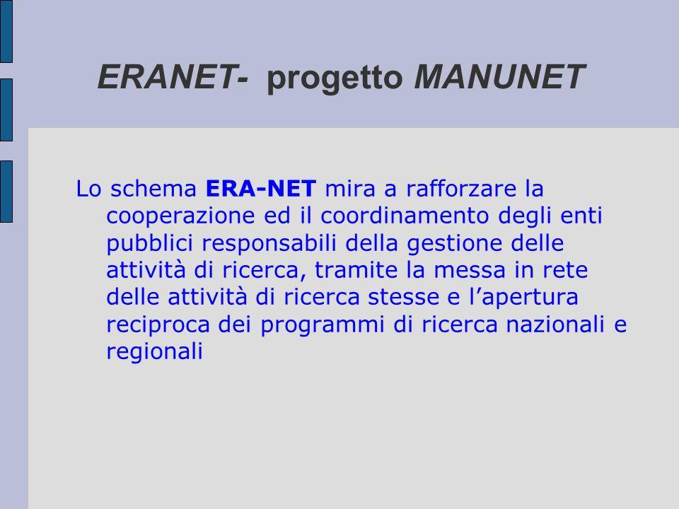 ERANET- progetto MANUNET Lo schema ERA-NET mira a rafforzare la cooperazione ed il coordinamento degli enti pubblici responsabili della gestione delle