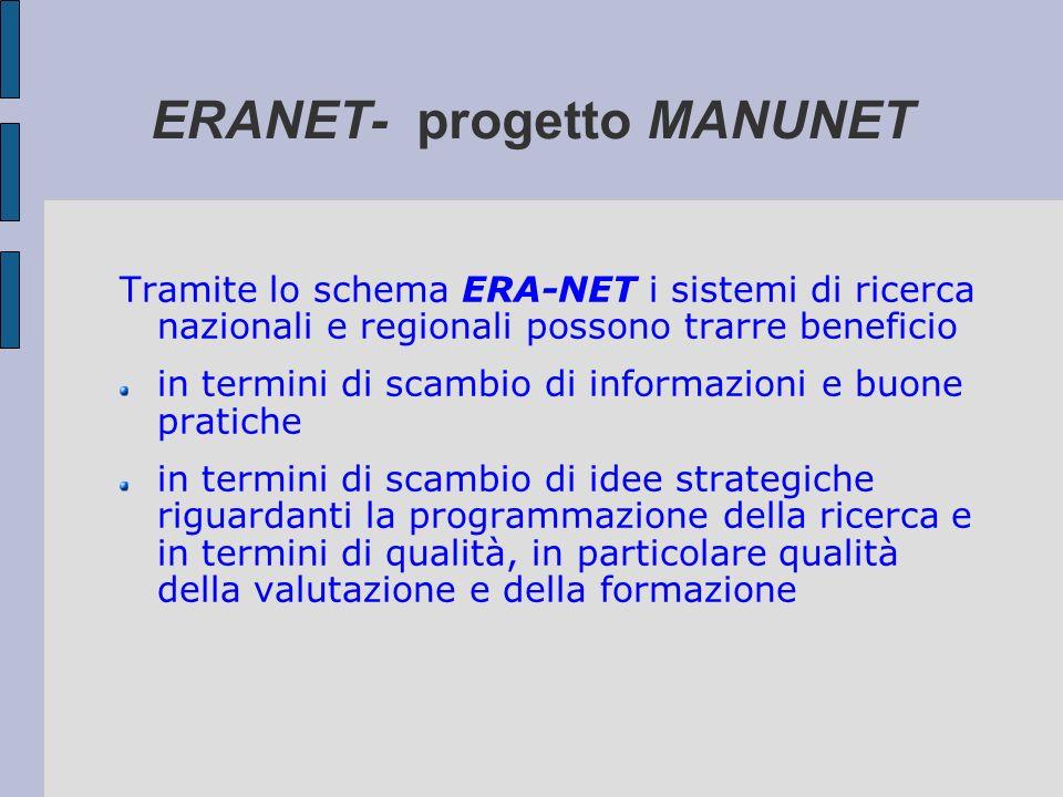 ERANET- progetto MANUNET Tramite lo schema ERA-NET i sistemi di ricerca nazionali e regionali possono trarre beneficio in termini di scambio di inform