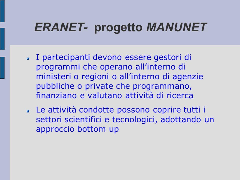 ERANET- progetto MANUNET I partecipanti devono essere gestori di programmi che operano allinterno di ministeri o regioni o allinterno di agenzie pubbl