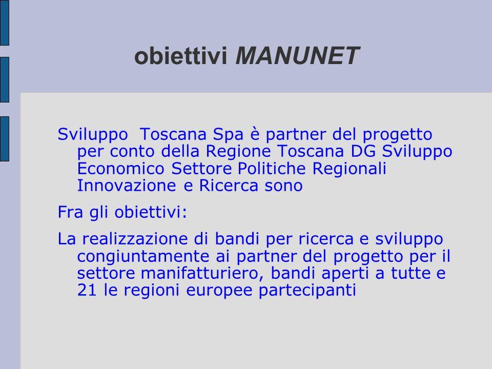obiettivi MANUNET Sviluppo Toscana Spa è partner del progetto per conto della Regione Toscana DG Sviluppo Economico Settore Politiche Regionali Innova