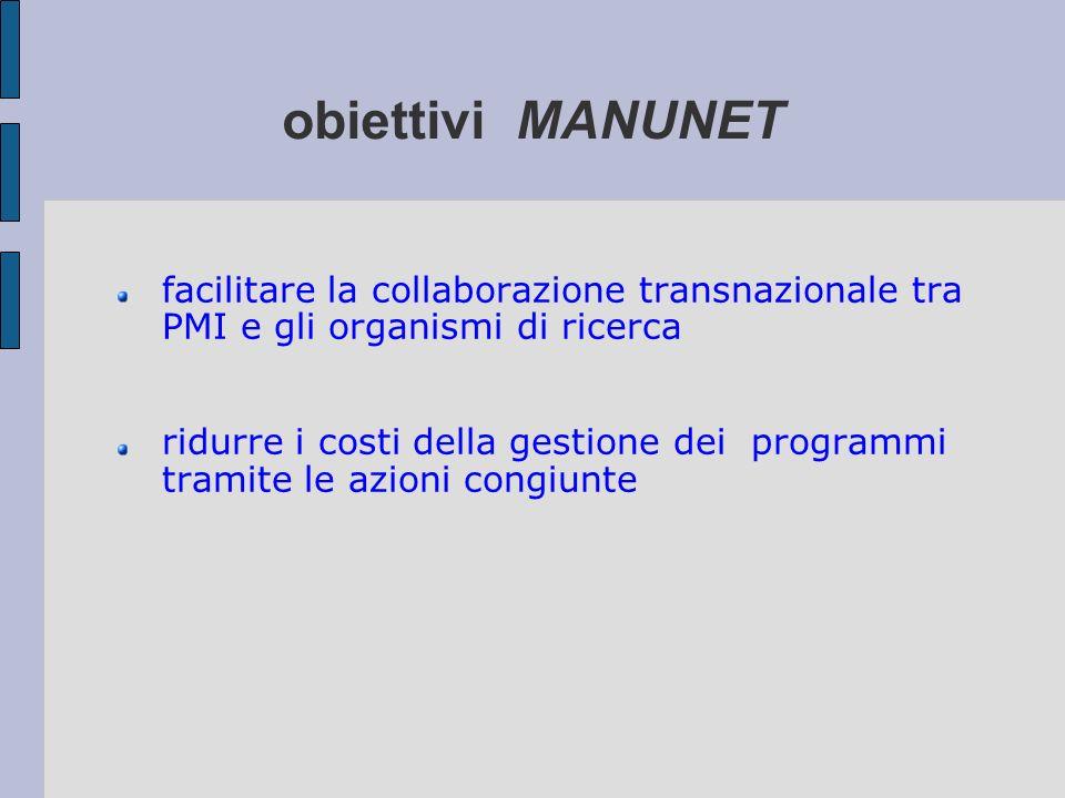 obiettivi MANUNET facilitare la collaborazione transnazionale tra PMI e gli organismi di ricerca ridurre i costi della gestione dei programmi tramite