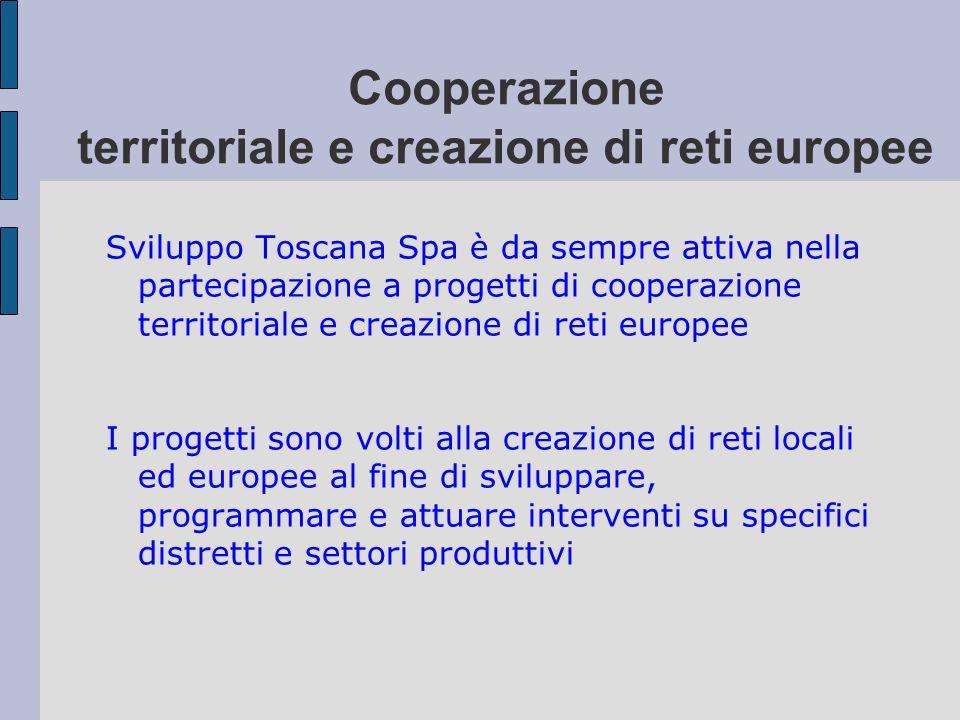 Cooperazione territoriale e creazione di reti europee Sviluppo Toscana Spa è da sempre attiva nella partecipazione a progetti di cooperazione territor
