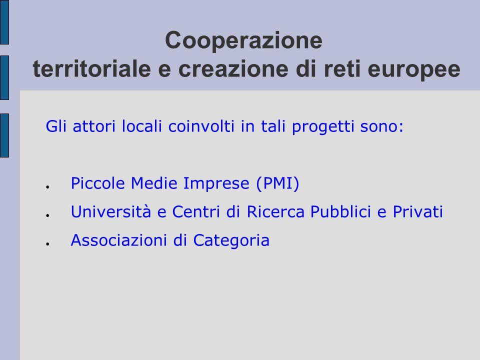 Cooperazione territoriale e creazione di reti europee Gli attori locali coinvolti in tali progetti sono: Piccole Medie Imprese (PMI) Università e Cent