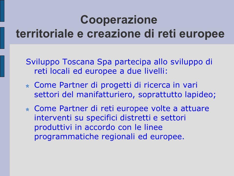 Cooperazione territoriale e creazione di reti europee Sviluppo Toscana Spa partecipa allo sviluppo di reti locali ed europee a due livelli: Come Partn