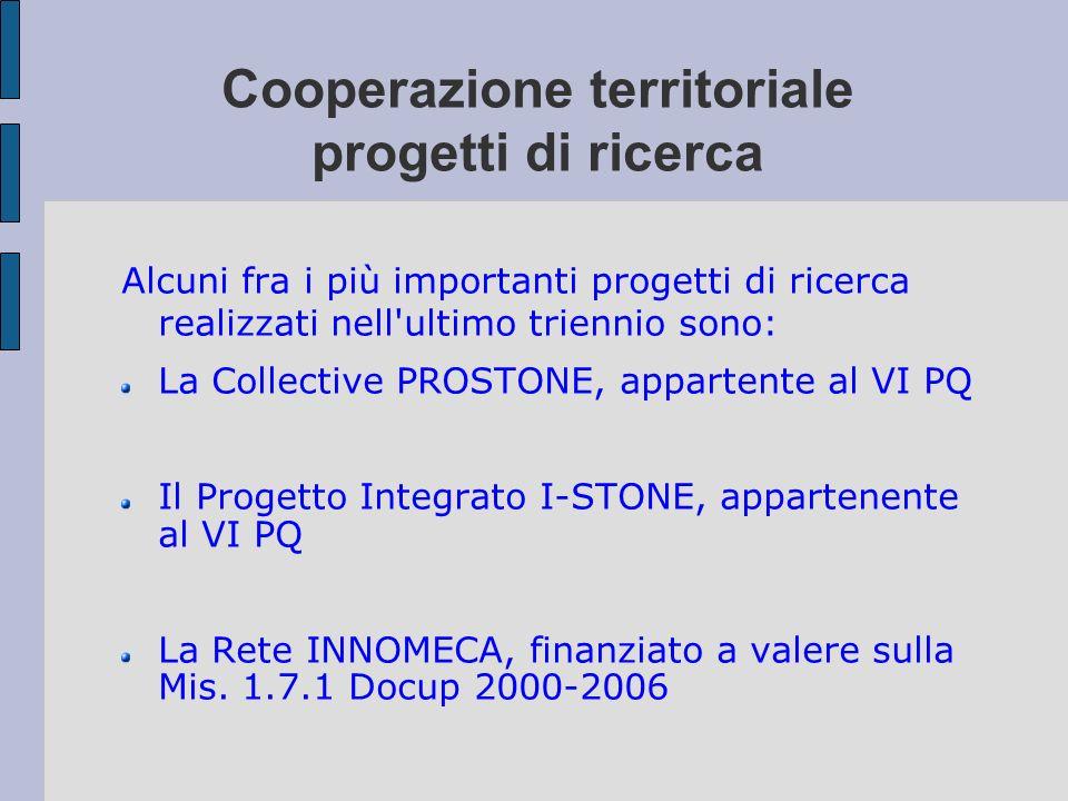 Cooperazione territoriale progetti di ricerca Alcuni fra i più importanti progetti di ricerca realizzati nell'ultimo triennio sono: La Collective PROS