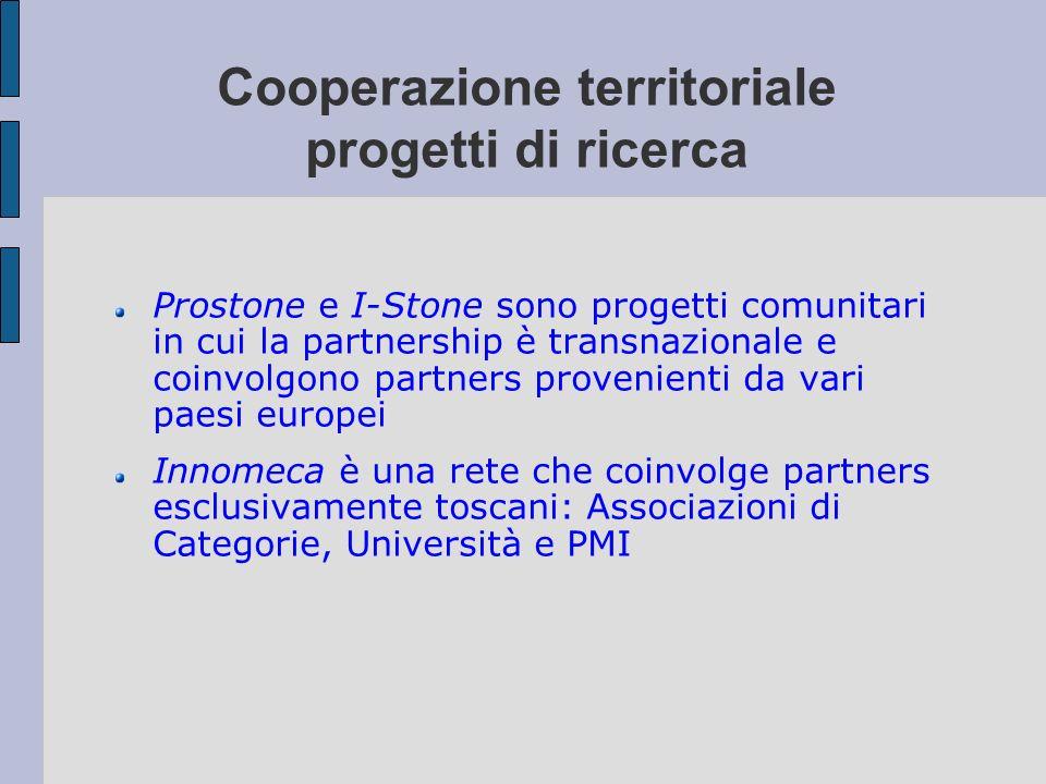 Cooperazione territoriale progetti di ricerca Prostone e I-Stone sono progetti comunitari in cui la partnership è transnazionale e coinvolgono partner