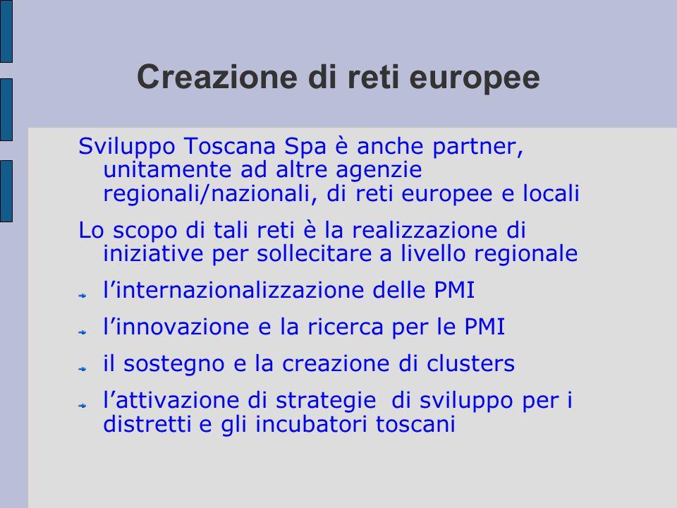 Creazione di reti europee Sviluppo Toscana Spa è anche partner, unitamente ad altre agenzie regionali/nazionali, di reti europee e locali Lo scopo di