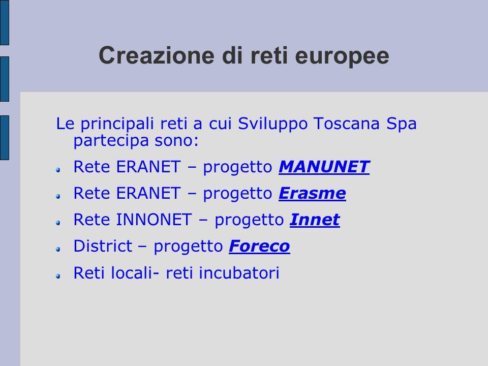 Creazione di reti europee Le principali reti a cui Sviluppo Toscana Spa partecipa sono: Rete ERANET – progetto MANUNET Rete ERANET – progetto Erasme R