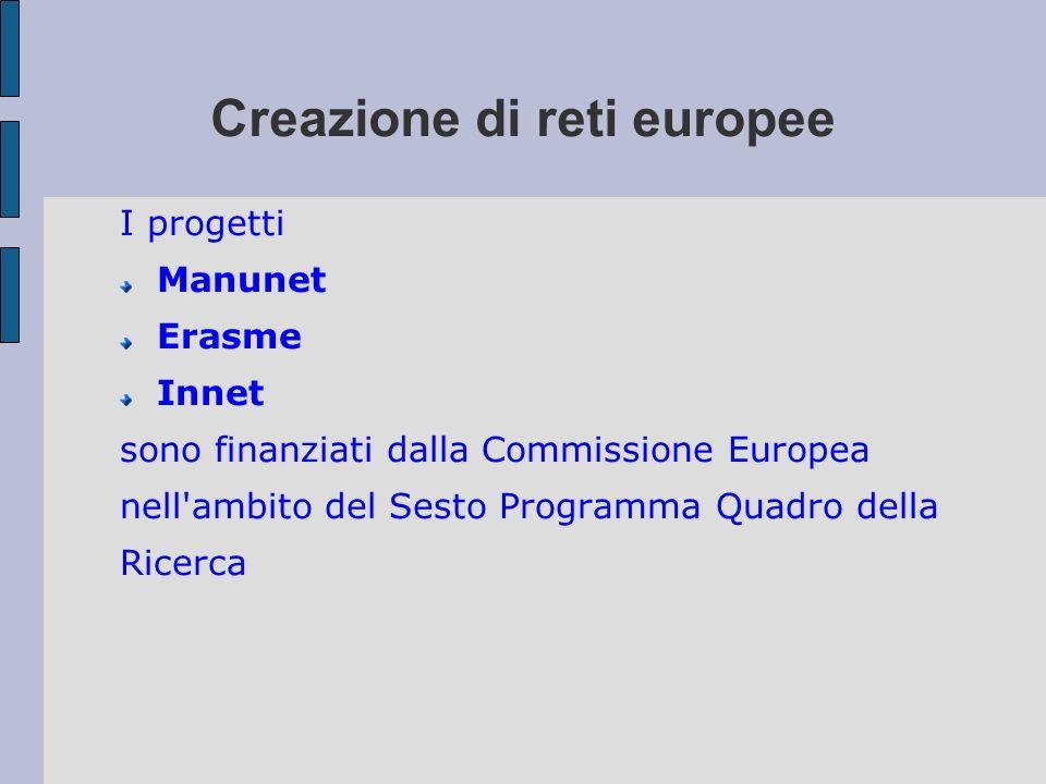 Creazione di reti europee I progetti Manunet Erasme Innet sono finanziati dalla Commissione Europea nell'ambito del Sesto Programma Quadro della Ricer