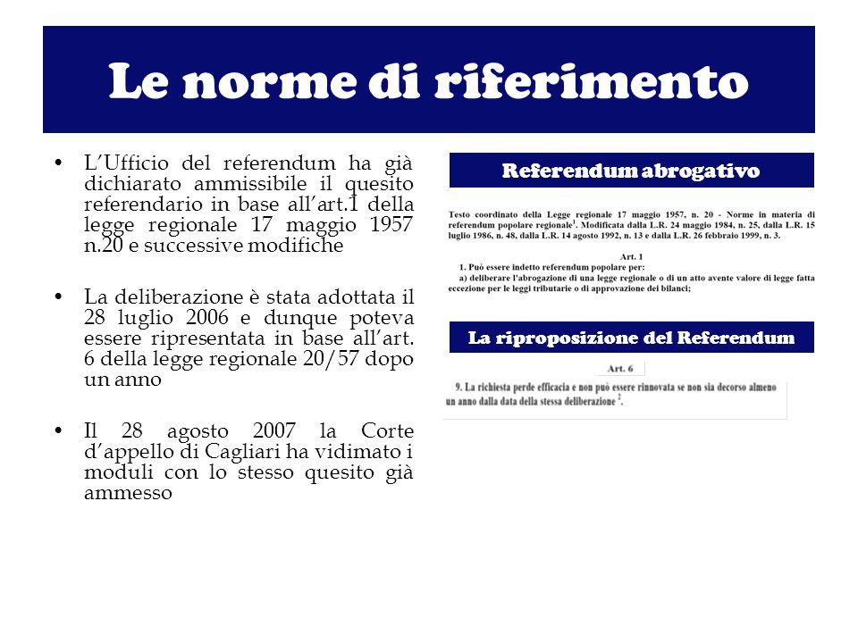 Le norme di riferimento LUfficio del referendum ha già dichiarato ammissibile il quesito referendario in base allart.1 della legge regionale 17 maggio 1957 n.20 e successive modifiche La deliberazione è stata adottata il 28 luglio 2006 e dunque poteva essere ripresentata in base allart.