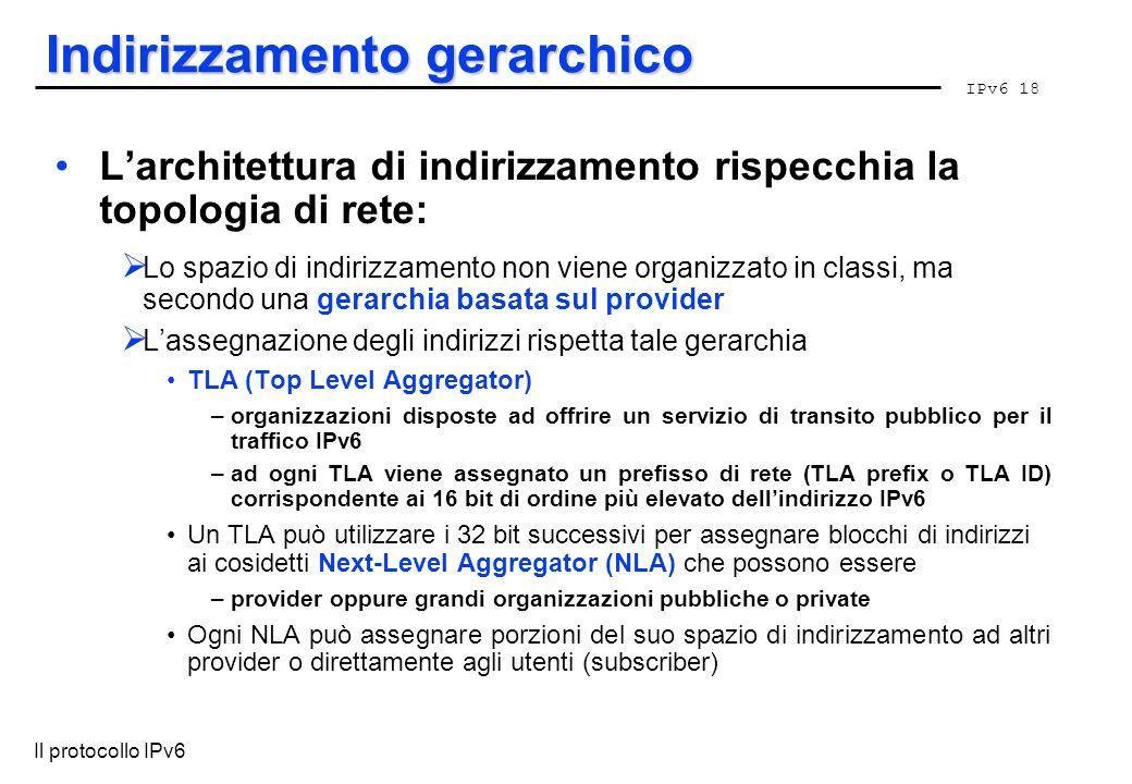 IPv6 18 Il protocollo IPv6 Indirizzamento gerarchico Larchitettura di indirizzamento rispecchia la topologia di rete: Lo spazio di indirizzamento non
