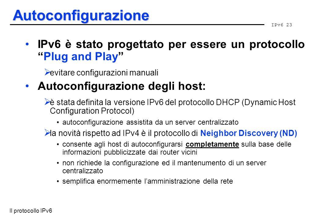 IPv6 23 Il protocollo IPv6 Autoconfigurazione IPv6 è stato progettato per essere un protocolloPlug and Play evitare configurazioni manuali Autoconfigu