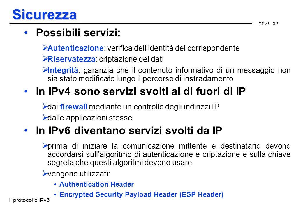 IPv6 32 Il protocollo IPv6 Sicurezza Possibili servizi: Autenticazione: verifica dellidentità del corrispondente Riservatezza: criptazione dei dati In