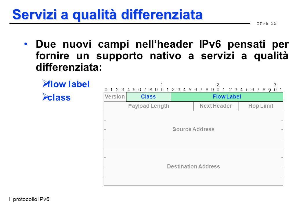 IPv6 35 Il protocollo IPv6 Servizi a qualità differenziata Due nuovi campi nellheader IPv6 pensati per fornire un supporto nativo a servizi a qualità