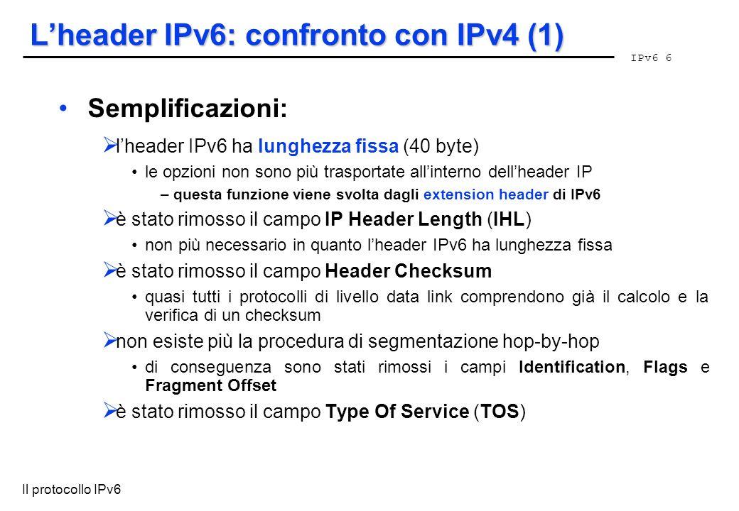 IPv6 6 Il protocollo IPv6 Lheader IPv6: confronto con IPv4 (1) Semplificazioni: lheader IPv6 ha lunghezza fissa (40 byte) le opzioni non sono più tras