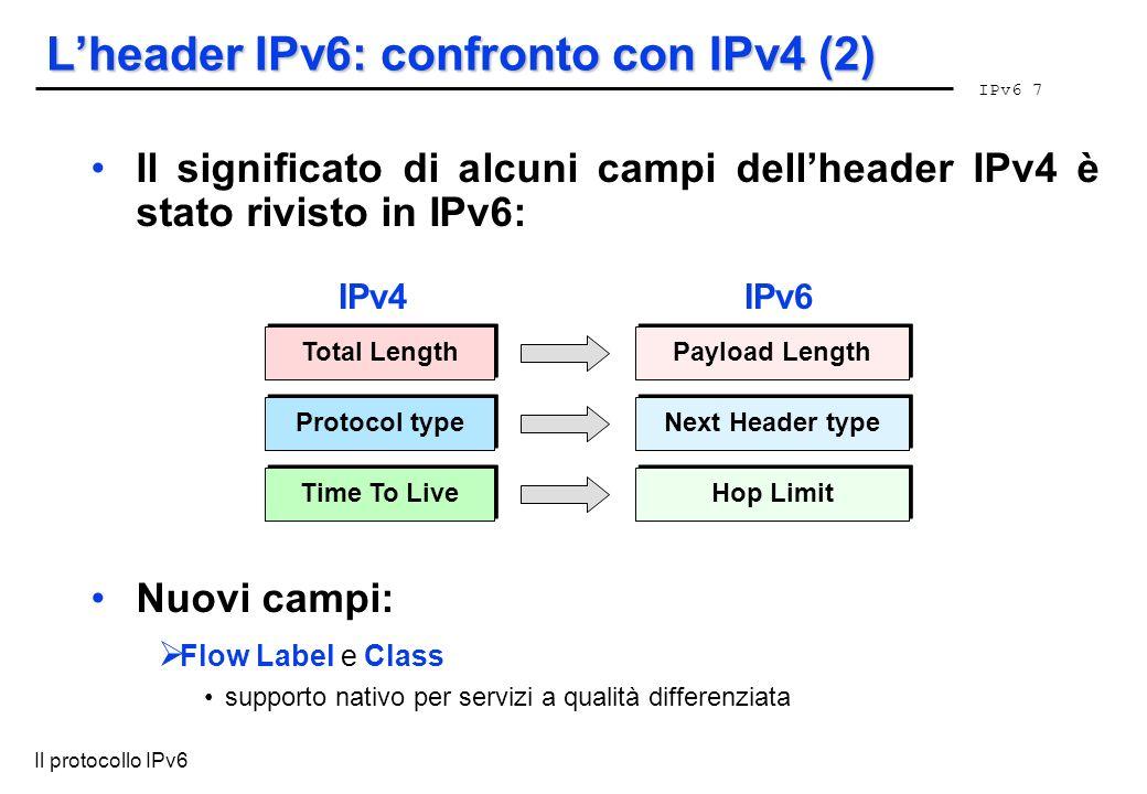 IPv6 7 Il protocollo IPv6 Lheader IPv6: confronto con IPv4 (2) Il significato di alcuni campi dellheader IPv4 è stato rivisto in IPv6: Nuovi campi: Fl