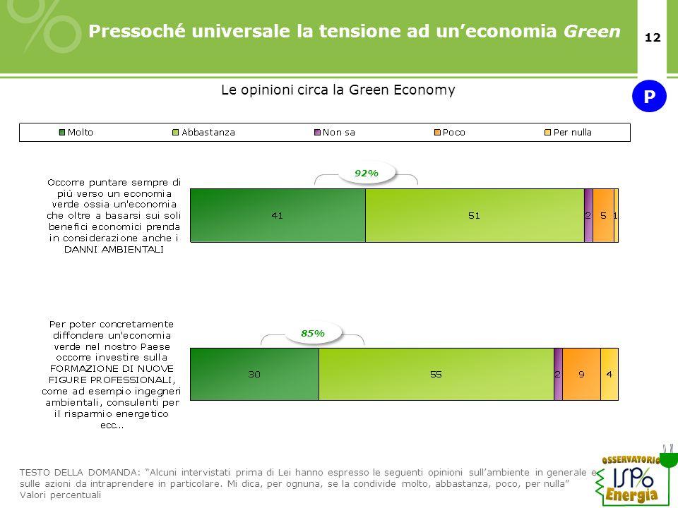 12 Pressoché universale la tensione ad uneconomia Green TESTO DELLA DOMANDA: Alcuni intervistati prima di Lei hanno espresso le seguenti opinioni sull