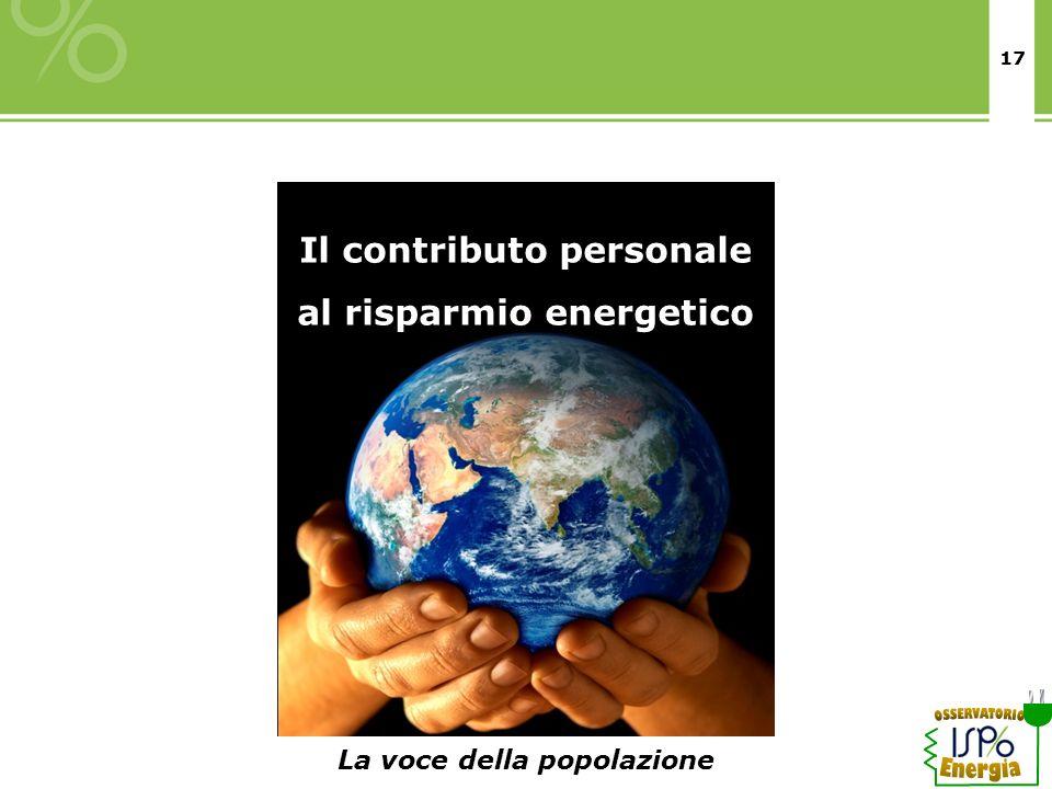 17 Il contributo personale al risparmio energetico La voce della popolazione