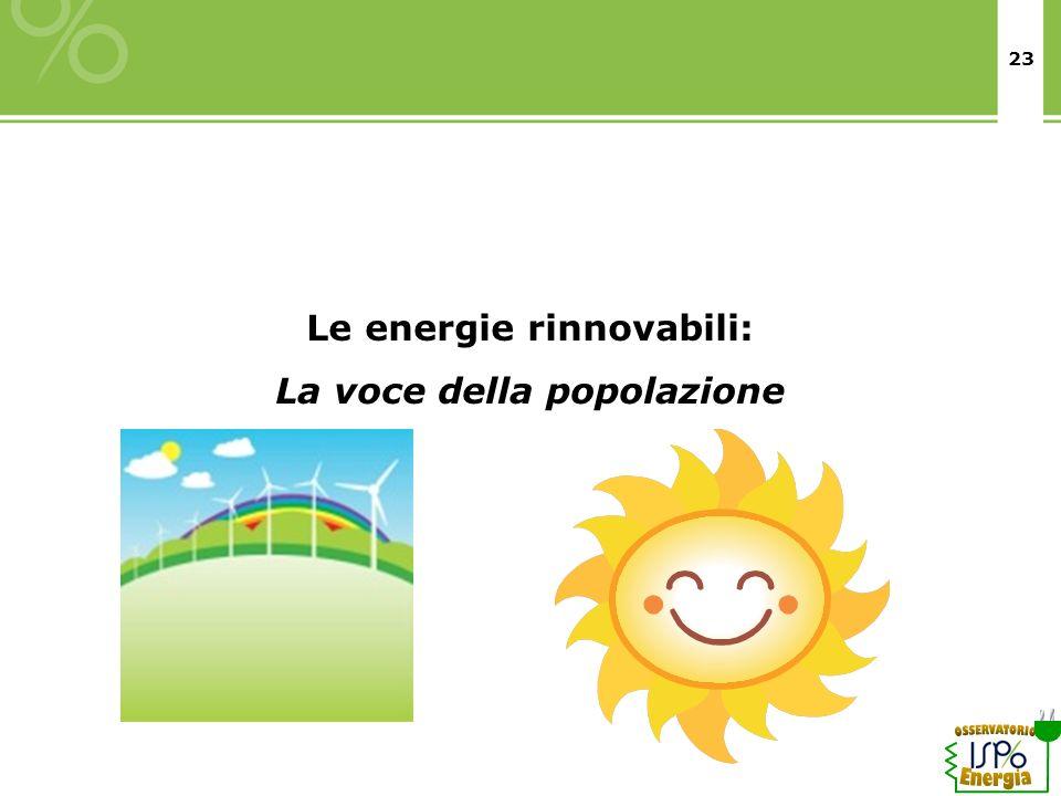 23 Le energie rinnovabili: La voce della popolazione