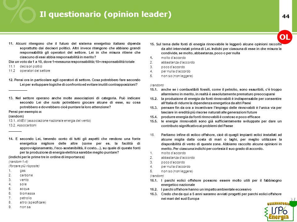 44 Il questionario (opinion leader) 11. Alcuni ritengono che il futuro del sistema energetico italiano dipenda soprattutto dai decisori politici. Altr