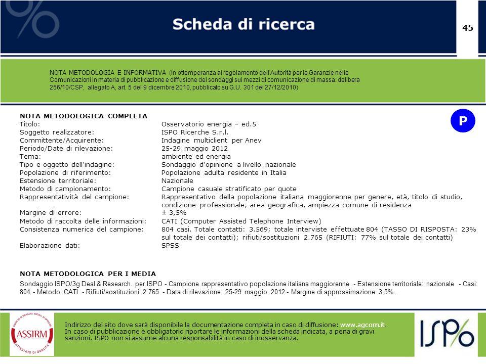 45 NOTA METODOLOGIA E INFORMATIVA (in ottemperanza al regolamento dellAutorità per le Garanzie nelle Comunicazioni in materia di pubblicazione e diffu