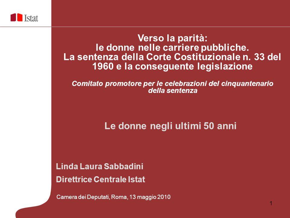 1 Linda Laura Sabbadini Direttrice Centrale Istat Verso la parità: le donne nelle carriere pubbliche. La sentenza della Corte Costituzionale n. 33 del
