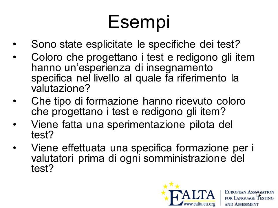 12 Esempi Sono state esplicitate le specifiche dei test? Coloro che progettano i test e redigono gli item hanno unesperienza di insegnamento specifica