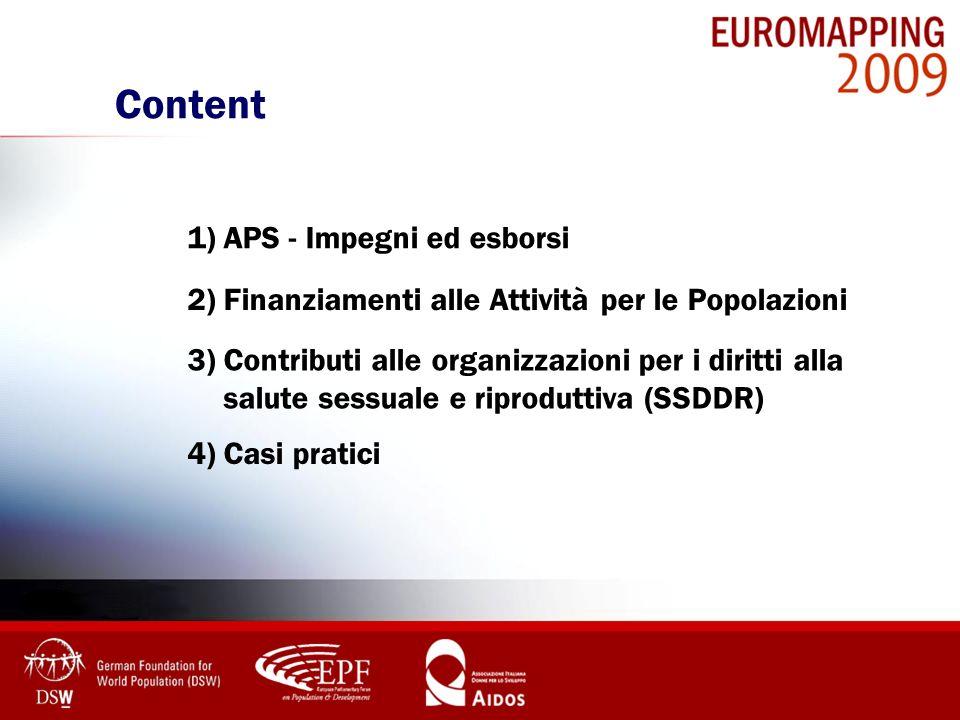 Content 1) APS - Impegni ed esborsi 2) Finanziamenti alle Attività per le Popolazioni 3) Contributi alle organizzazioni per i diritti alla salute sess