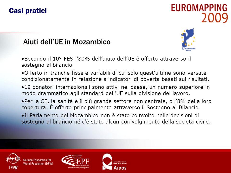 Aiuti dellUE in Mozambico Secondo il 10° FES l80% dellaiuto dellUE è offerto attraverso il sostegno al bilancio Offerto in tranche fisse e variabili d