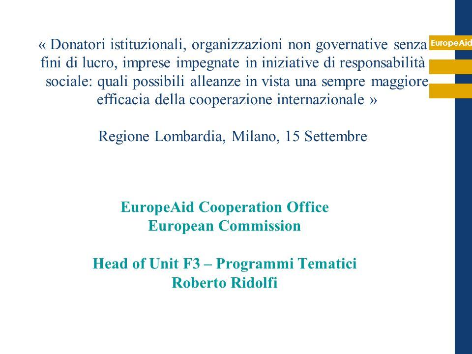 EuropeAid EuropeAid Cooperation Office European Commission Head of Unit F3 – Programmi Tematici Roberto Ridolfi « Donatori istituzionali, organizzazio