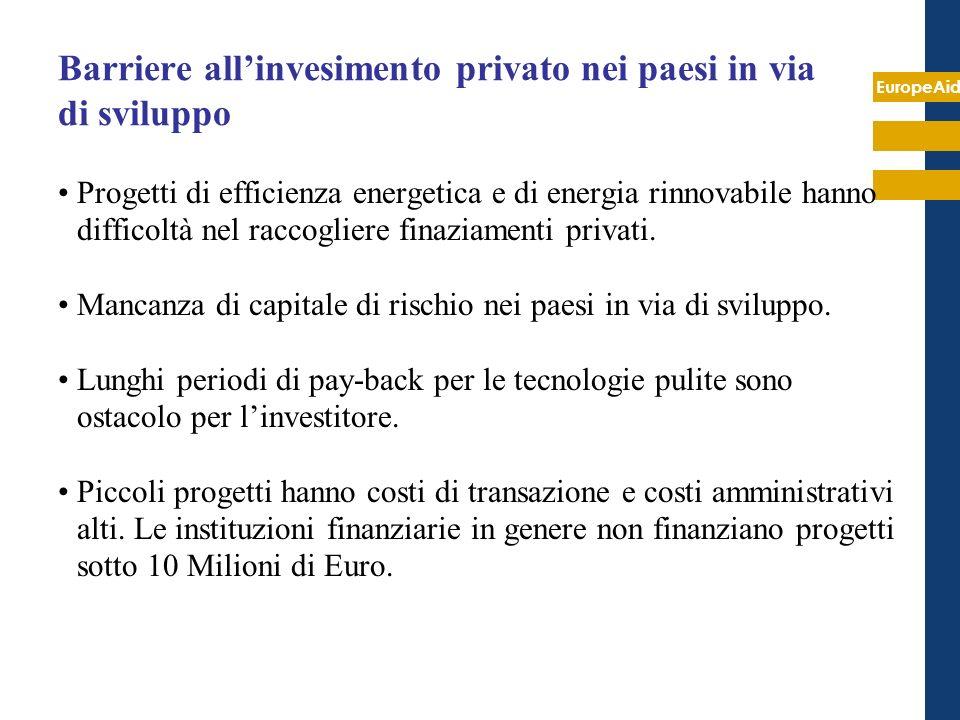 EuropeAid Barriere allinvesimento privato nei paesi in via di sviluppo Progetti di efficienza energetica e di energia rinnovabile hanno difficoltà nel