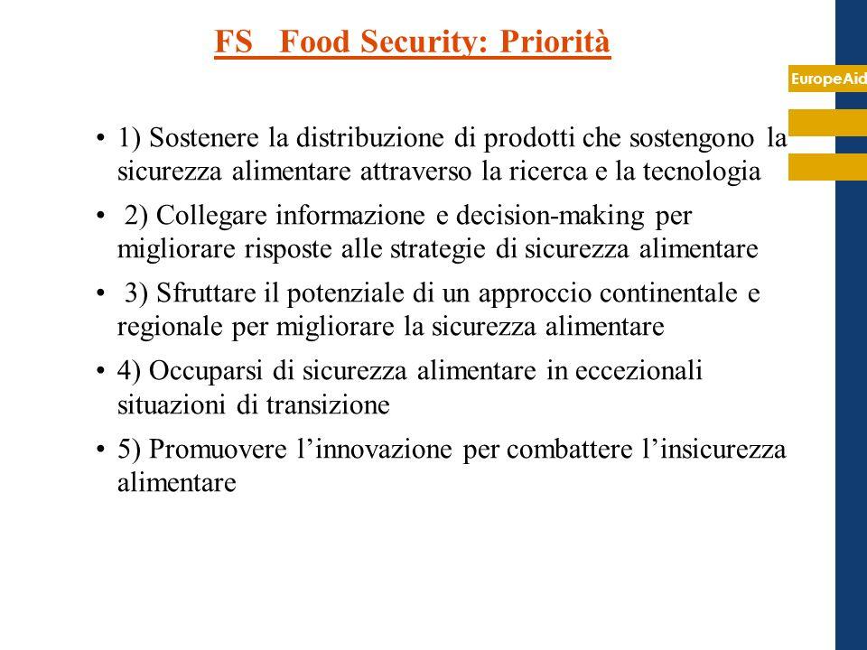 EuropeAid FS Food Security: Priorità 1) Sostenere la distribuzione di prodotti che sostengono la sicurezza alimentare attraverso la ricerca e la tecno