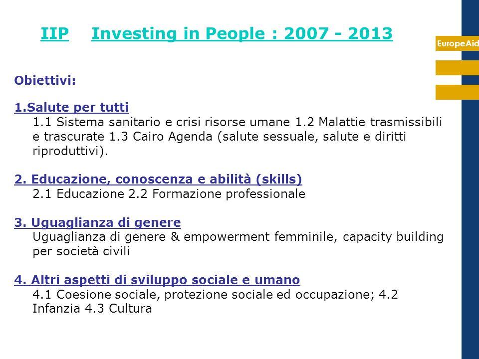 EuropeAid IIP Investing in People : 2007 - 2013 Obiettivi: 1.Salute per tutti 1.1 Sistema sanitario e crisi risorse umane 1.2 Malattie trasmissibili e