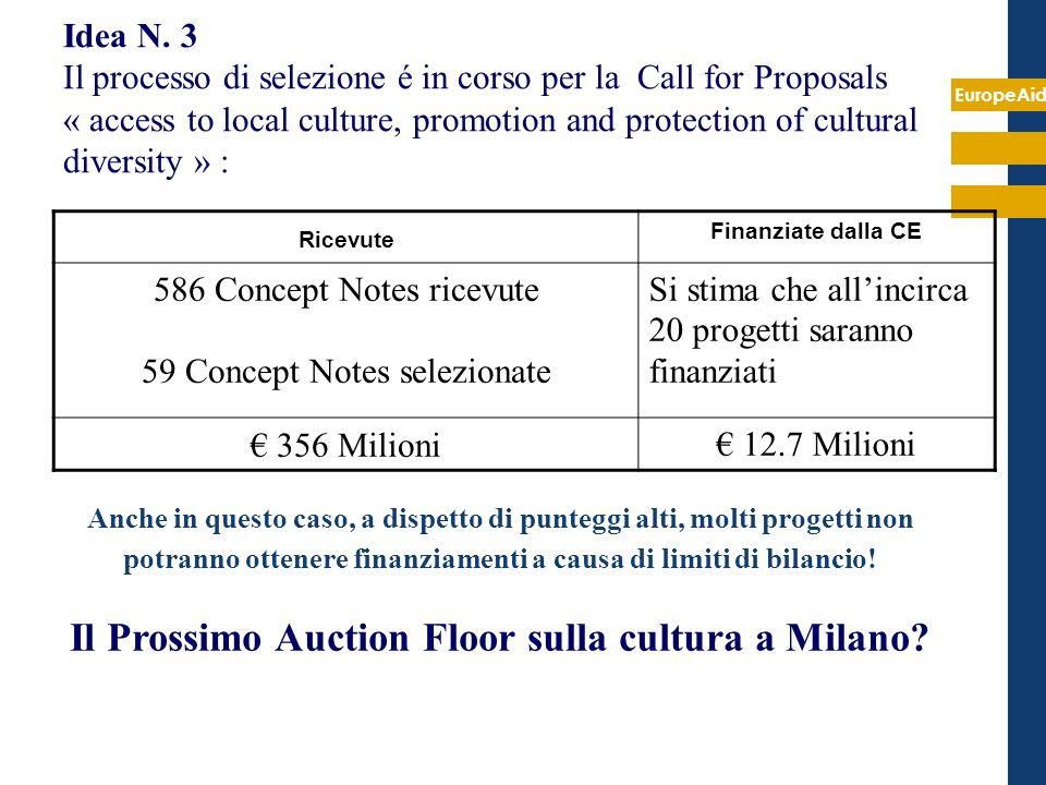 EuropeAid Idea N. 3 Il processo di selezione é in corso per la Call for Proposals « access to local culture, promotion and protection of cultural dive