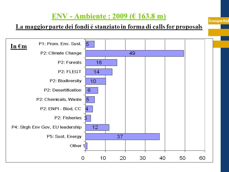 EuropeAid ENV - Ambiente : 2009 ( 163.8 m) La maggior parte dei fondi é stanziato in forma di calls for proposals In m