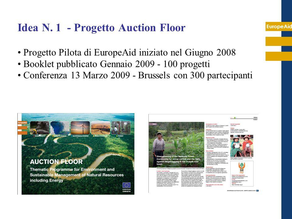 EuropeAid Idea N. 1 - Progetto Auction Floor Progetto Pilota di EuropeAid iniziato nel Giugno 2008 Booklet pubblicato Gennaio 2009 - 100 progetti Conf