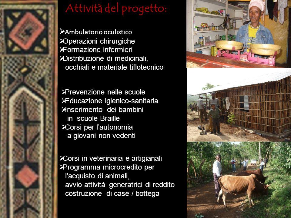Attività del progetto: Ambulatorio oculistico Operazioni chirurgiche Formazione infermieri Distribuzione di medicinali, occhiali e materiale tiflotecn