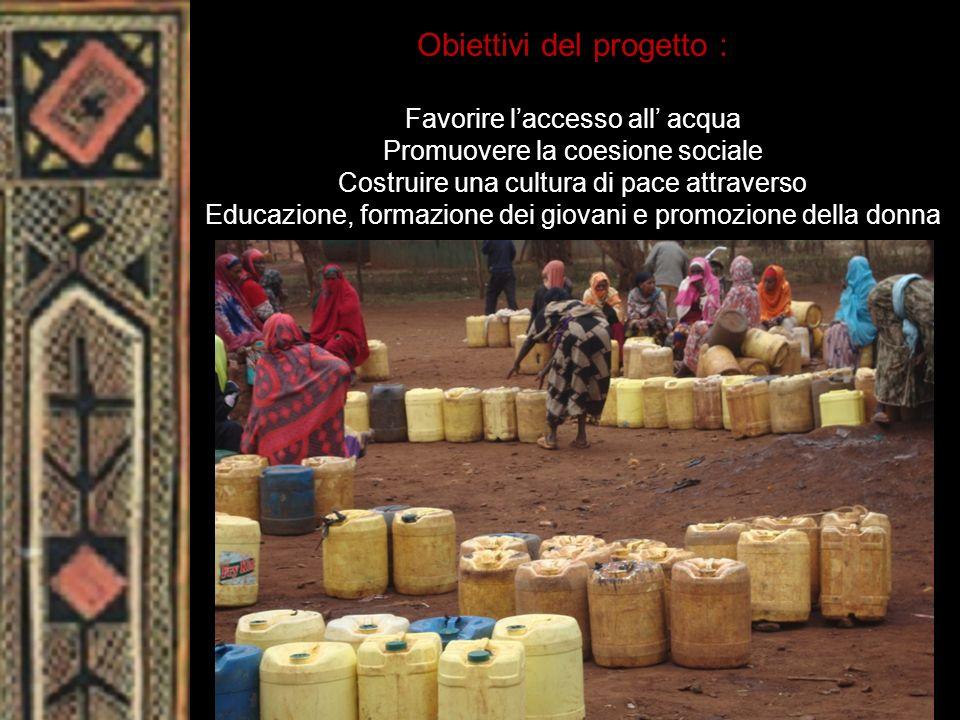 Obiettivi del progetto : Favorire laccesso all acqua Promuovere la coesione sociale Costruire una cultura di pace attraverso Educazione, formazione de