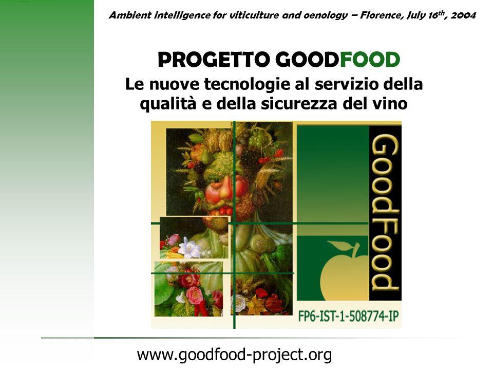 www.goodfood-project.org PROGETTO GOODFOOD Le nuove tecnologie al servizio della qualità e della sicurezza del vino Ambient intelligence for viticultu