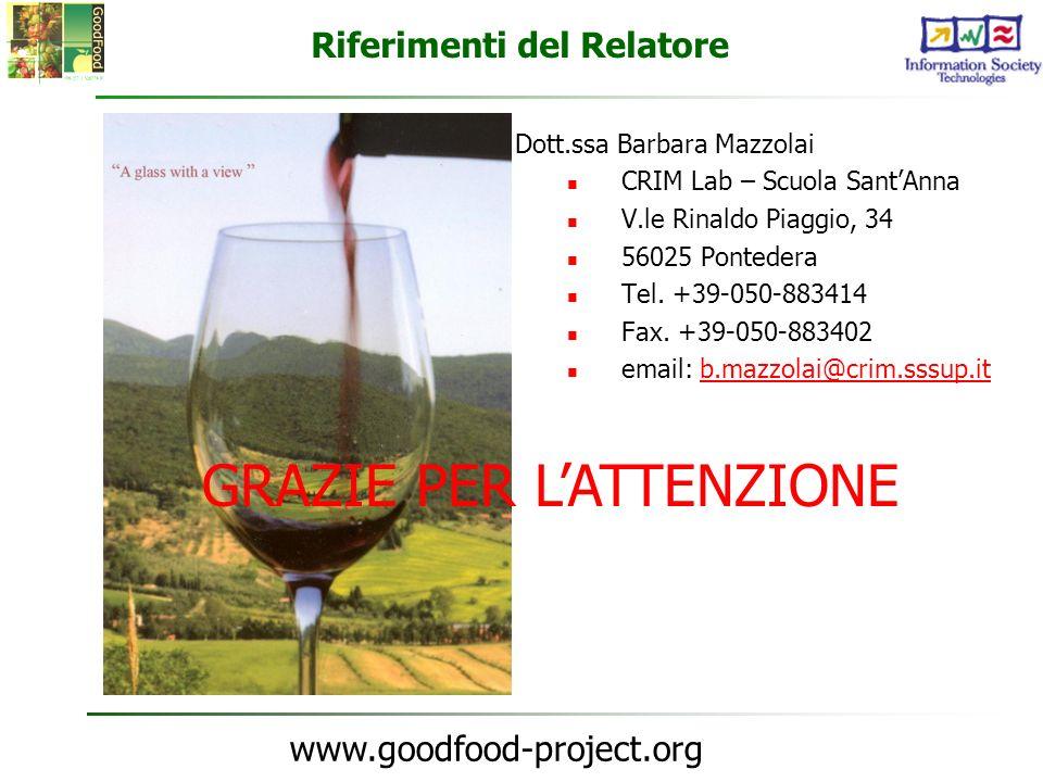 www.goodfood-project.org Riferimenti del Relatore Dott.ssa Barbara Mazzolai CRIM Lab – Scuola SantAnna V.le Rinaldo Piaggio, 34 56025 Pontedera Tel. +
