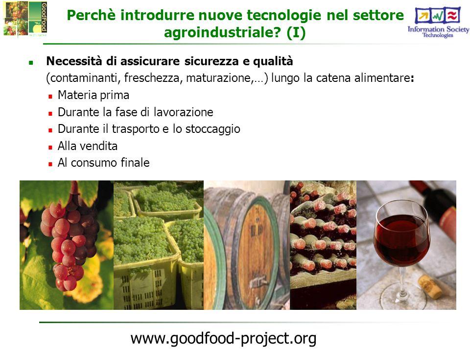 www.goodfood-project.org Perchè introdurre nuove tecnologie nel settore agroindustriale? (I) Necessità di assicurare sicurezza e qualità (contaminanti