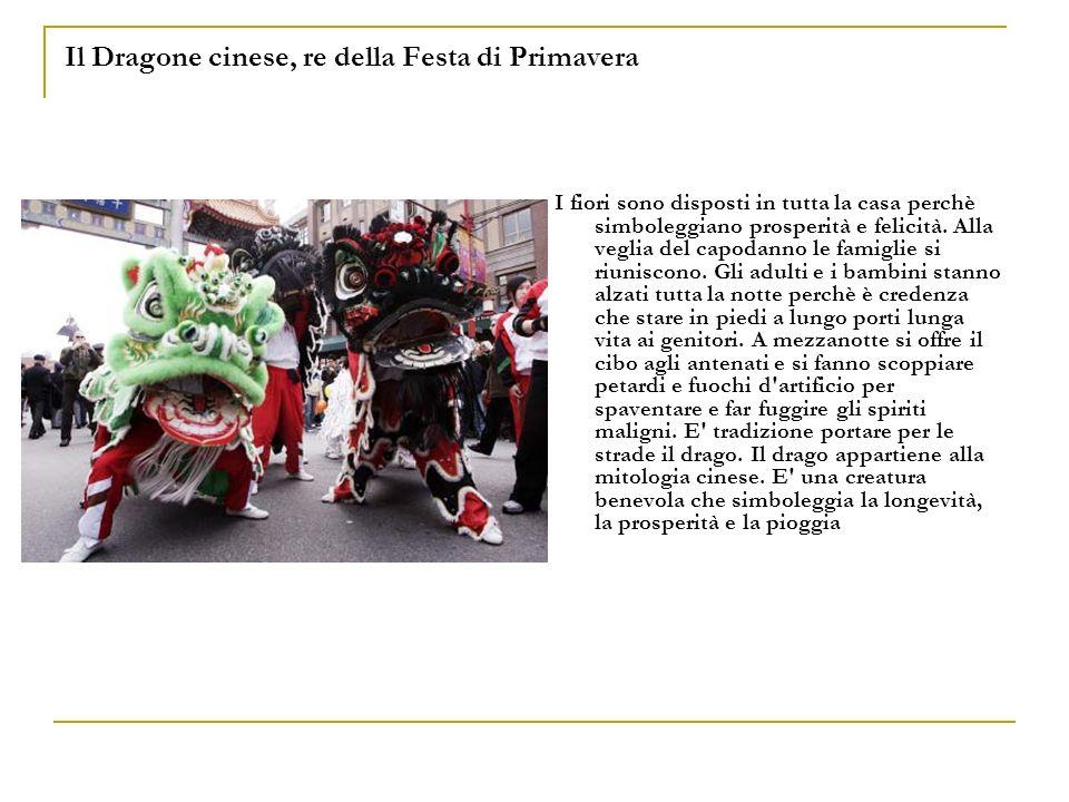 Il Dragone cinese, re della Festa di Primavera I fiori sono disposti in tutta la casa perchè simboleggiano prosperità e felicità. Alla veglia del capo