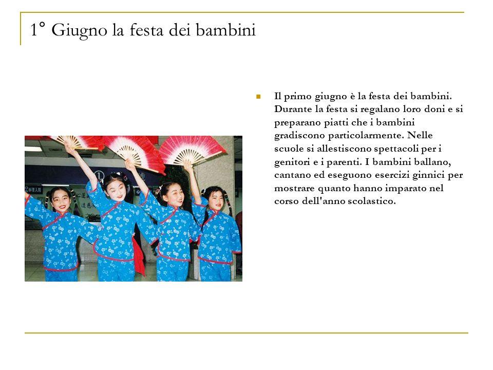 1° Giugno la festa dei bambini Il primo giugno è la festa dei bambini. Durante la festa si regalano loro doni e si preparano piatti che i bambini grad