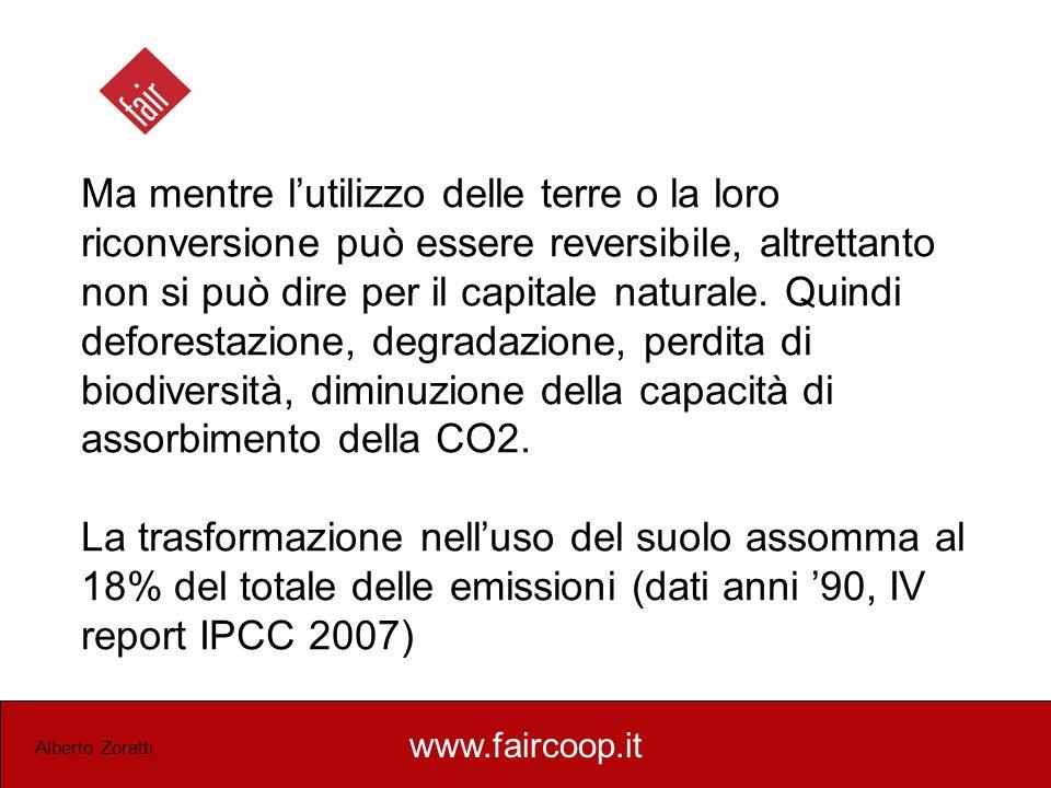 www.faircoop.it Alberto Zoratti Ma mentre lutilizzo delle terre o la loro riconversione può essere reversibile, altrettanto non si può dire per il cap