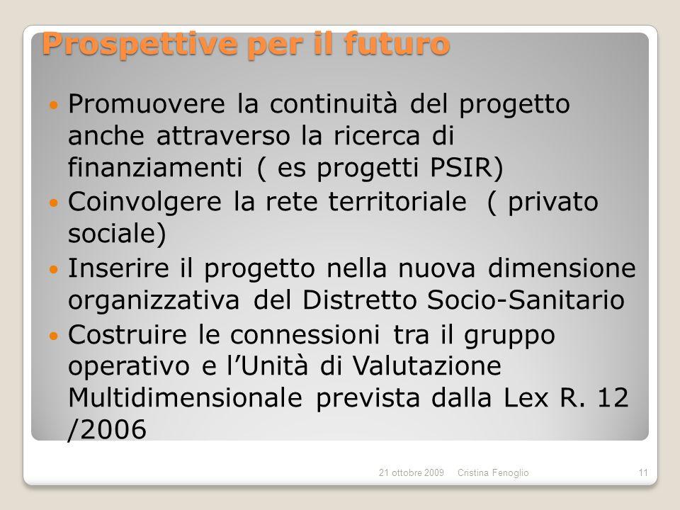 Prospettive per il futuro Promuovere la continuità del progetto anche attraverso la ricerca di finanziamenti ( es progetti PSIR) Coinvolgere la rete t