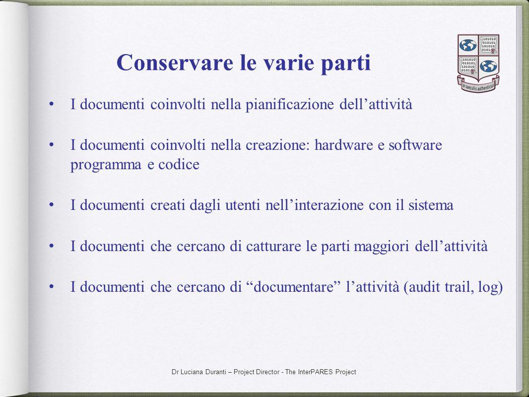Dr Luciana Duranti – Project Director - The InterPARES Project Conservare le varie parti I documenti coinvolti nella pianificazione dellattività I doc
