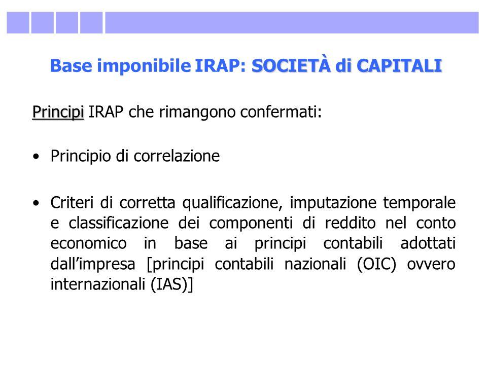 SOCIETÀ di CAPITALI Base imponibile IRAP: SOCIETÀ di CAPITALI Principi Principi IRAP che rimangono confermati: Principio di correlazione Criteri di co